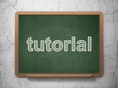 Education concept: Tutorial on chalkboard background Stock Illustration