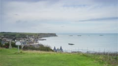 Arromanches, France, Timelapse  - Panoramic view of the town Stock Footage