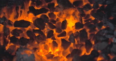 Embers Glowing in Fading Fire - 24FPS 4K DCI Stock Footage