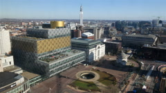 Birmingham library, Centenary Square, high viewpoint. Stock Footage