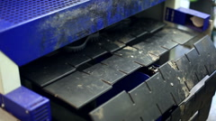 Rubber soles moves on conveyor - stock footage