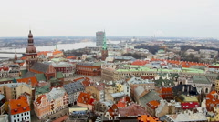 View at Riga from the tower of Saint Peter's Church, Riga, Latvia Stock Footage