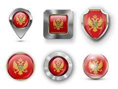 Montenegro Flag Badges - stock illustration