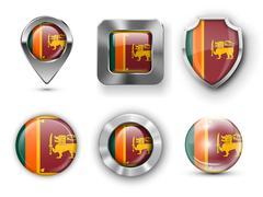 Sri Lanka Flag Badges Stock Illustration