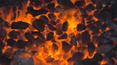 Embers Glowing in Fading Fire - 29,97FPS NTSC Stock Footage