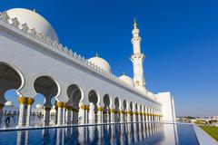 Stock Photo of Arcades in the Sheikh Zayed Mosque Sheikh Zayed Grand Mosque Abu Dhabi Emirate
