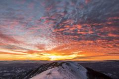 Stock Photo of Winter sunset from Mount Nerone Monte Nerone Apennines Marche Italy Europe
