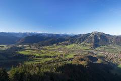 View from Geierstein mountain over the Isartal valley with Fleck and Wegscheid - stock photo