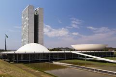 National Congress Congresso Nacional congress building by architect Oscar - stock photo