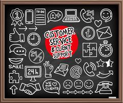 Doodle Customer Service icons Stock Illustration