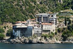 Orthodox Christian Osiou Gregoriou monastery Athos Peninsula Chalcidice Greece Stock Photos