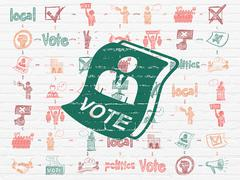 Stock Illustration of Politics concept: Ballot on wall background