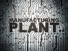 Manufacuring concept: circuit board with Manufacturing Plant - stock illustration