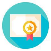 Paper Diploma with Award Circle Icon - stock illustration