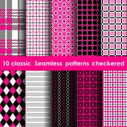 Set of colored checkered seamless table cloth background Stock Illustration