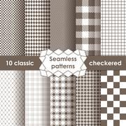 Set of checkered simple fabric seamless pattern Stock Illustration
