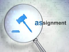 Stock Illustration of Law concept: Gavel and Assignment with optical glass