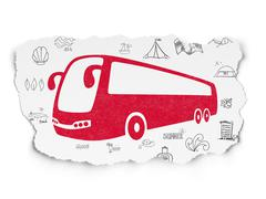 Travel concept: Bus on Torn Paper background Stock Illustration