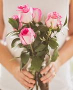 Stock Photo of Mid section of woman holding bunch of pink roses