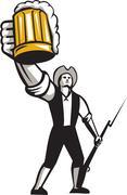 American Patriot Craft Beer Musket Bayonet Retro - stock illustration