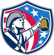 American Patriot Craft Beer Mug USA Flag Crest Retro - stock illustration