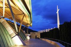 Padre Pio Pilgrimage Church at dusk - stock photo