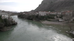 Mostar Bosnia - view from the Stari Most Bridge over the river Stock Footage