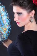 Closeup portrait of flamenco dancer fan Kuvituskuvat