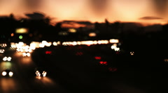 Los Angeles Freeway 1 and Skyline at Sunset - Color Corrected Stock Footage