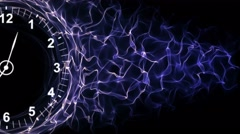 Clock and Tunnel in Fibers Ring, Background, Loop, 4k Stock Footage