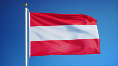 Austria flag in slow motion seamlessly looped with alpha Stock Footage
