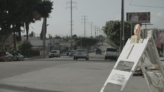 East Los Angeles Street Power Poles Construction - Film Log Stock Footage