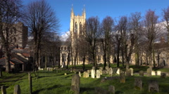 Bury St Edmunds cemetery Cathedral park gardens England 4K Stock Footage