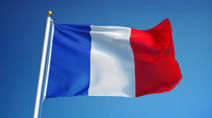 France flag in slow motion seamlessly looped with alpha Stock Footage
