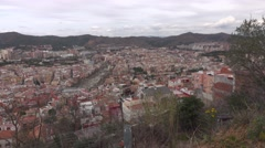 La Font d'en Fargues and El Carmel area panning shot, city houses nested - stock footage