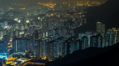 Fei ngo shan Kowloon Peak night timelapse Hong Kong cityscape skyline - stock footage