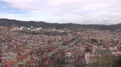Panning panorama of Horta-Guinardo district of Barcelona, camera turn right Stock Footage