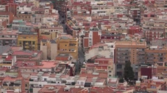 Static aerial close up view at Barcelona street, telephoto view Stock Footage