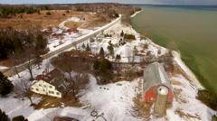 Scenic Door County Wisconsin, Rustic shoreline aerial flyover. Stock Footage