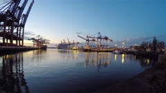Hamburg container terminal in harbour Stock Footage