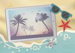 Summertime Tropical Vacation. Exotic Island with Palm Trees on tablet Stock Illustration