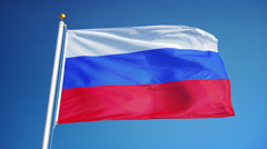 Russia flag in slow motion seamlessly looped with alpha Stock Footage