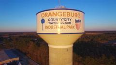 Orangeburg SC water tower pan to I-26 Stock Footage
