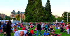 4K Legislature Lawn, Parliament Buildings in Victoria City, Canada Day Crowd - stock footage