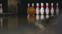Bowling pins in the bowling club Stock Footage