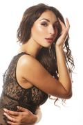 Beautiful alluring young woman in sexy lingerie isolated on whit - stock photo