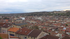 Bar le Duc : medieval country town in France - panoramic view - pan 2 Stock Footage