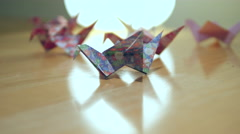 Paper Cranes Origami Stock Footage
