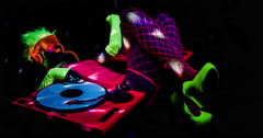 glow uv dj party music fluorescent woman disco ultra violet - stock footage