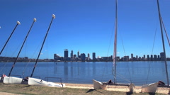 Perth city and catamarans Stock Footage